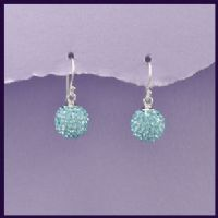 Sterling Silver &  Turquoise Swarovski Crystal 12mm Earrings